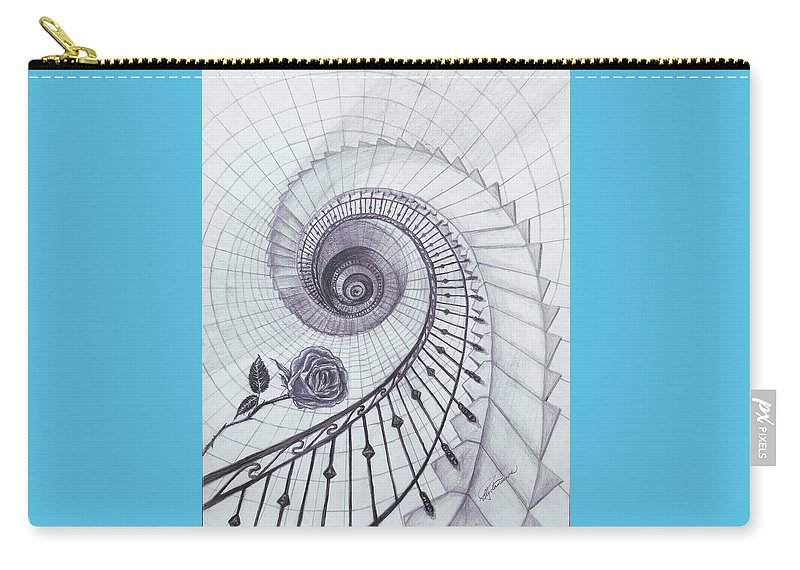 Stairs Carry-all Pouch featuring the drawing Romeo And Juliet by Elly Potamianos