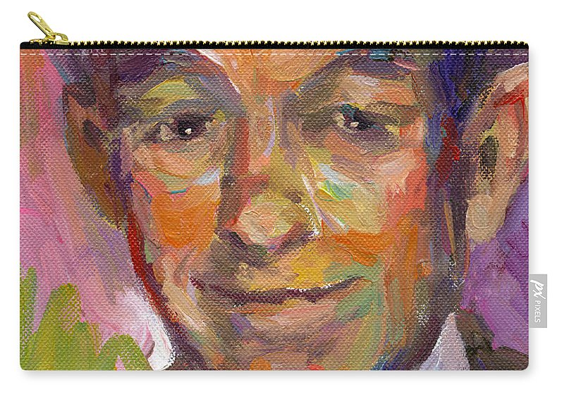 Ron Paul Painting Carry-all Pouch featuring the painting Ron Paul Art Impressionistic Painting by Svetlana Novikova