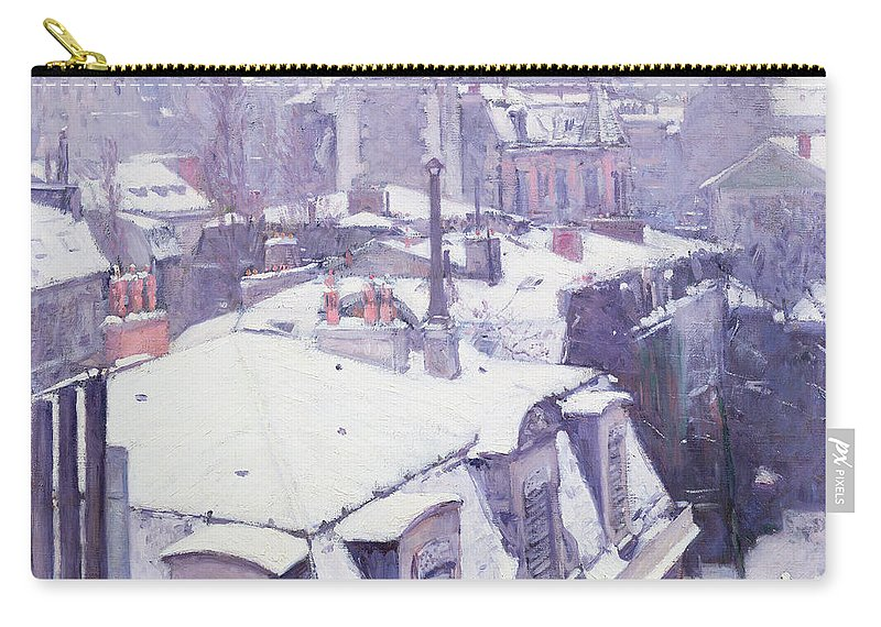 Snow Carry-all Pouch featuring the painting Roofs Under Snow by Gustave Caillebotte