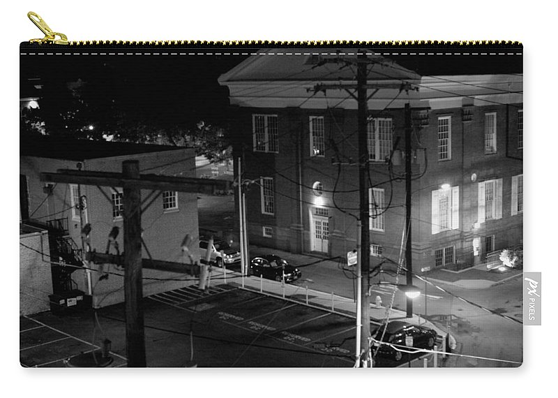 Black White Carry-all Pouch featuring the photograph Rooftop Court by Jean Macaluso