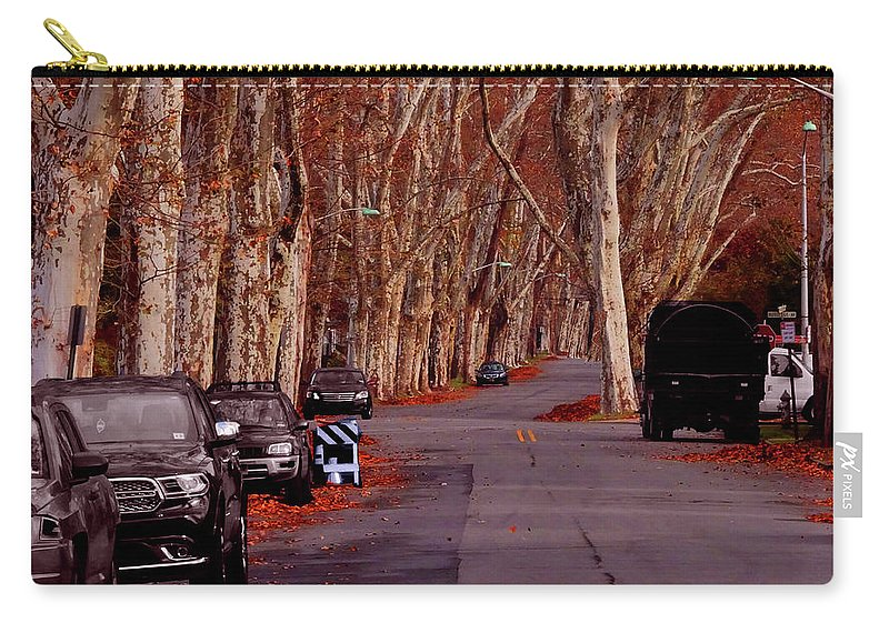 Roosevelt_avenue;trees;sycamore;urban;east_orange;new+jersey;calm Carry-all Pouch featuring the photograph Roosevelt Avenue Red by Leon deVose