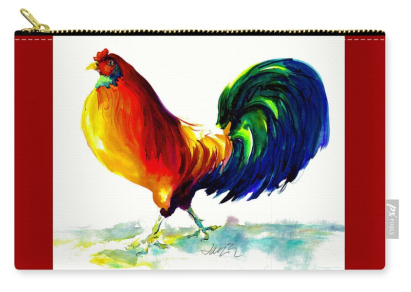 Painting With Exaggerated Colors Carry-all Pouch featuring the painting Rooster - Big Napoleon by Jacki Kellum