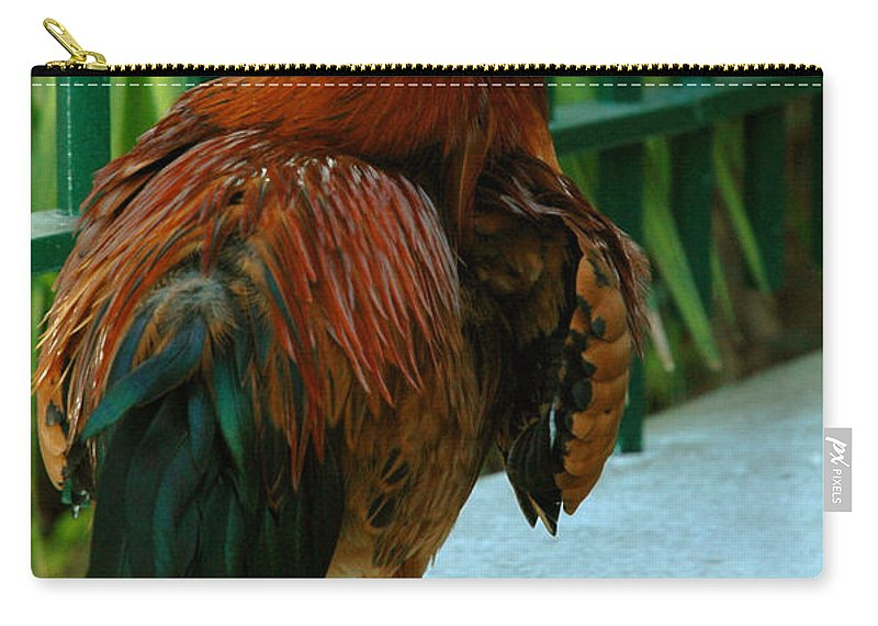 Rooster Carry-all Pouch featuring the photograph Rooster By The Fence by Susanne Van Hulst