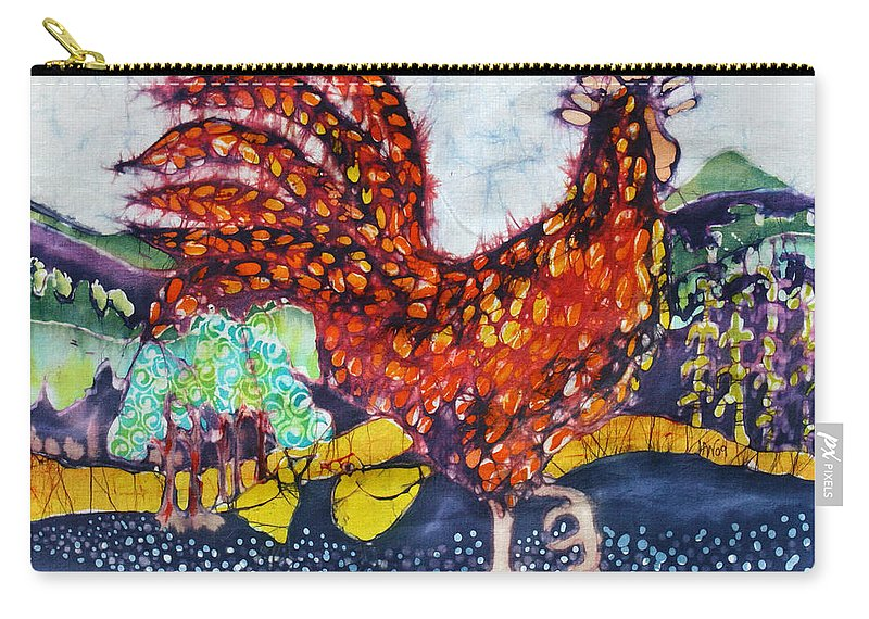 Farm Carry-all Pouch featuring the tapestry - textile Rooster In The Morning by Carol Law Conklin