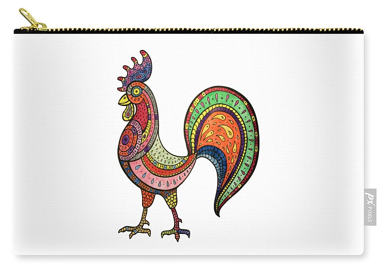 Mandala Carry-all Pouch featuring the painting Rooster Mandala by Saba Jaberi