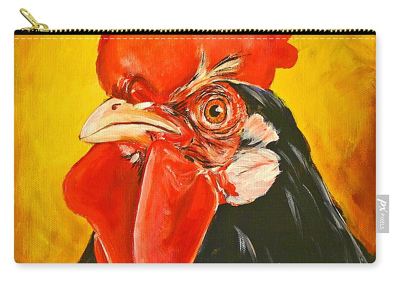Rooster Carry-all Pouch featuring the painting Rooster by Toni Grote