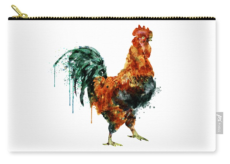 Rooster Carry-all Pouch featuring the painting Rooster Watercolor Painting by Marian Voicu