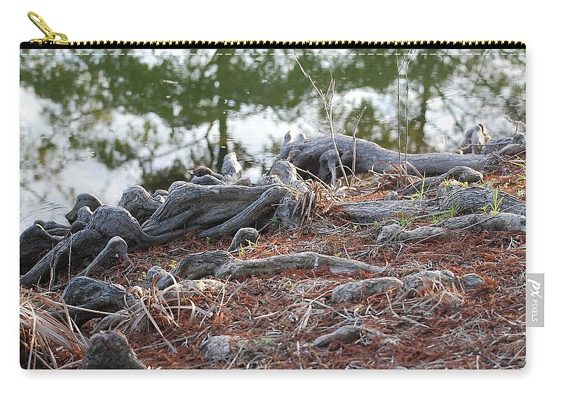 Roots Carry-all Pouch featuring the photograph Rooted Lake Edge by Rob Hans