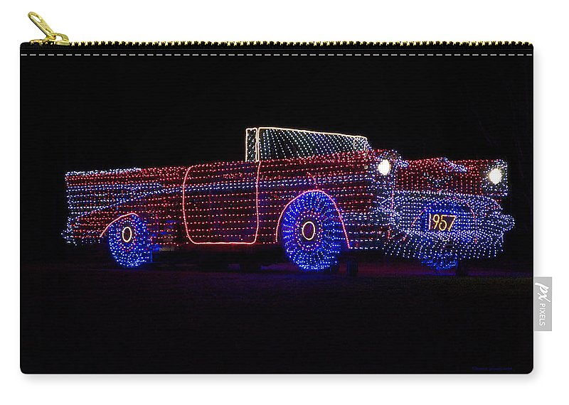 Car Carry-all Pouch featuring the photograph Rope Light Art 1957 Chevy by Thomas Woolworth