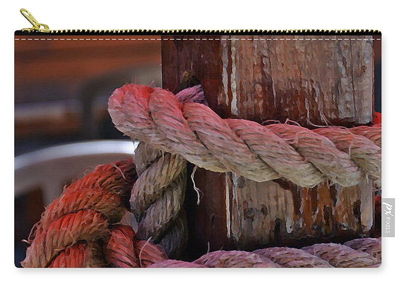 Wood Rope Patio Carry-all Pouch featuring the digital art Rope On Wood by Scott McKone