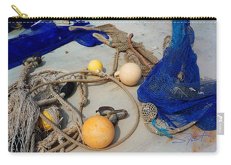 Fishing Net Carry-all Pouch featuring the photograph Ropes Nets And Bouys by Charles Stuart