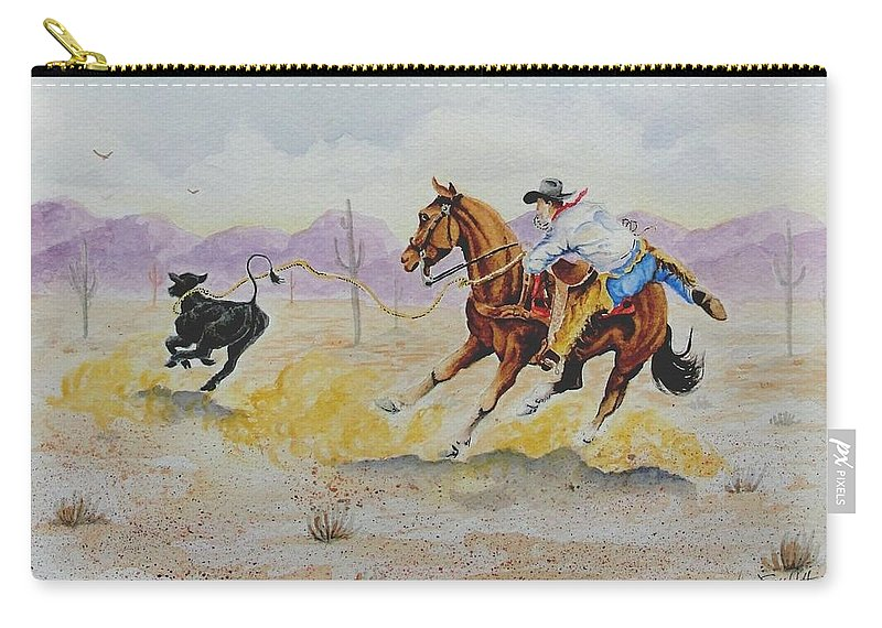 Cowboy Carry-all Pouch featuring the painting Ropin' A Dogie by Jimmy Smith