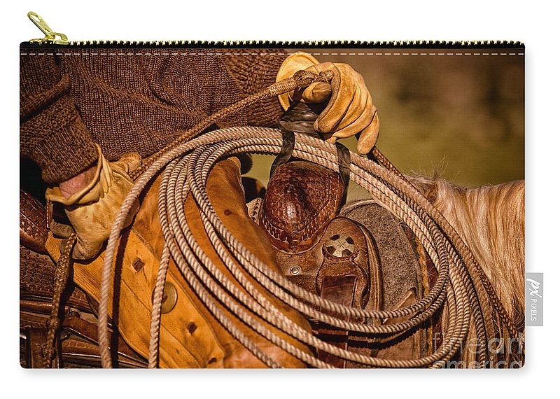 Cowboy Carry-all Pouch featuring the photograph Roping by Ana V Ramirez