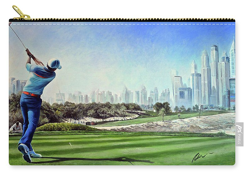 Rory Mcilroy Carry-all Pouch featuring the painting Rory At Ddc Emirates Gc Dubai 8th 2014 by Mark Robinson