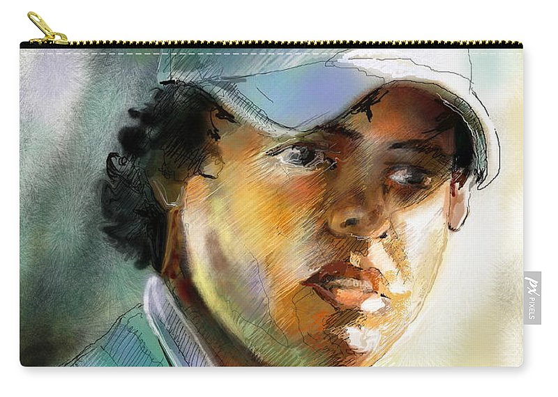 Portrait Painting Golfer Golfart Rory Mcilroy Pga Tour Carry-all Pouch featuring the painting Rory Mcilroy by Miki De Goodaboom