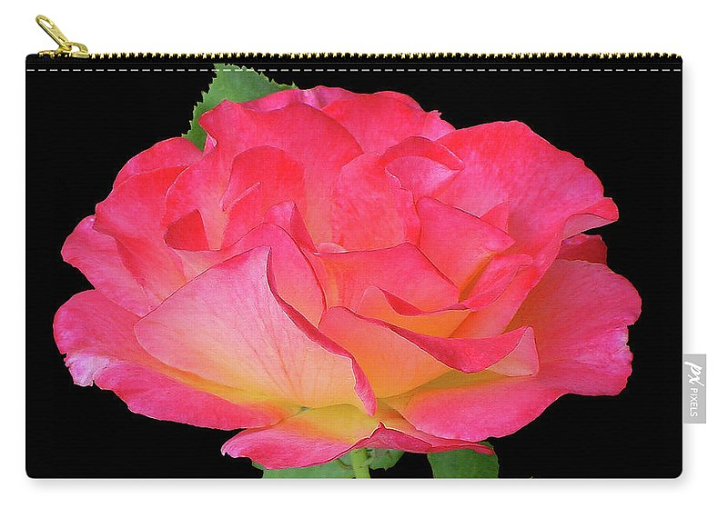 Cutout Carry-all Pouch featuring the photograph Rose Blushing Cutout by Shirley Heyn