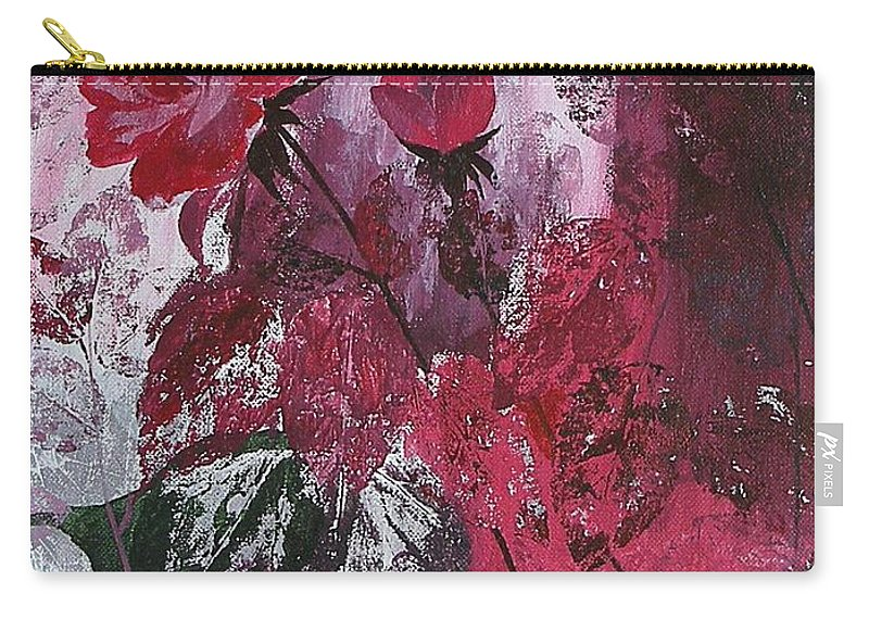 Roses Carry-all Pouch featuring the painting Rose Burst by Rupa Prakash