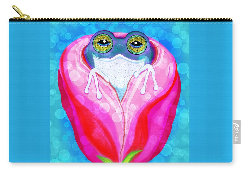 Frog Carry-all Pouch featuring the painting Rose City Rain Frog by Nick Gustafson