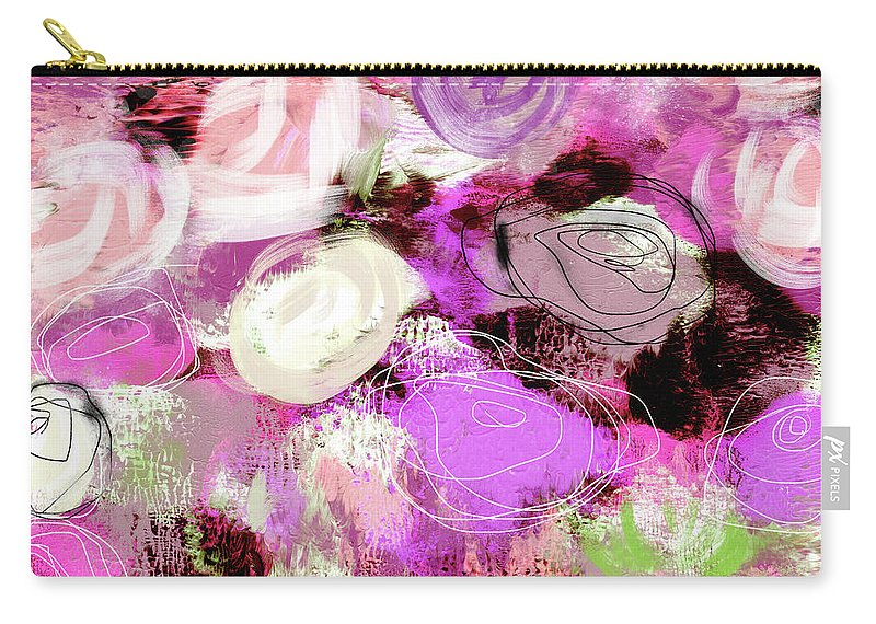 Roses Carry-all Pouch featuring the mixed media Rose Garden Promise- Art By Linda Woods by Linda Woods