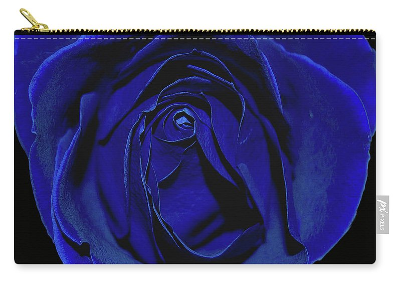 Rose Carry-all Pouch featuring the photograph Rose Heart In Blue Velvet by DigiArt Diaries by Vicky B Fuller