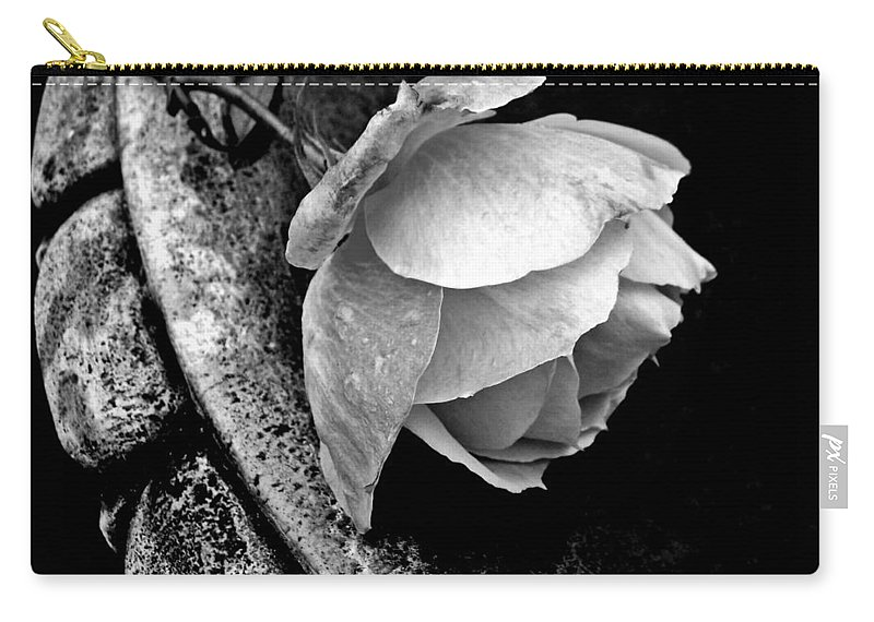Rose Carry-all Pouch featuring the photograph Rose In A Birdbath by Patricia Strand