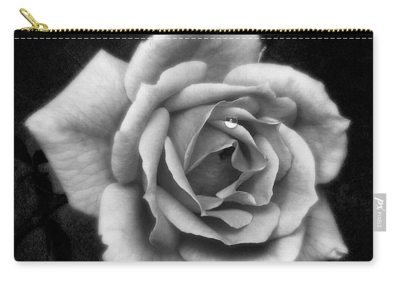 Beautiful Carry-all Pouch featuring the photograph Rose In Mono. #flower #flowers by John Edwards