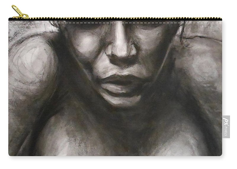 Emotional Carry-all Pouch featuring the drawing Rose by Jason Reinhardt