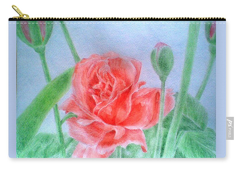 Rose Flower Drawing Paper Colored Pencils Aquarel Carry-all Pouch featuring the drawing Rose by Nadi Sabirova