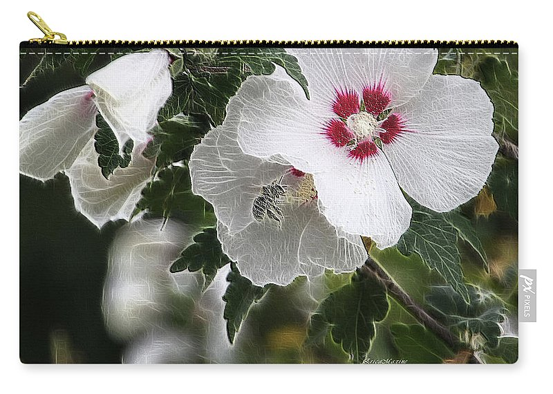 Flower Carry-all Pouch featuring the photograph Rose Of Sharon And Bee by Ericamaxine Price