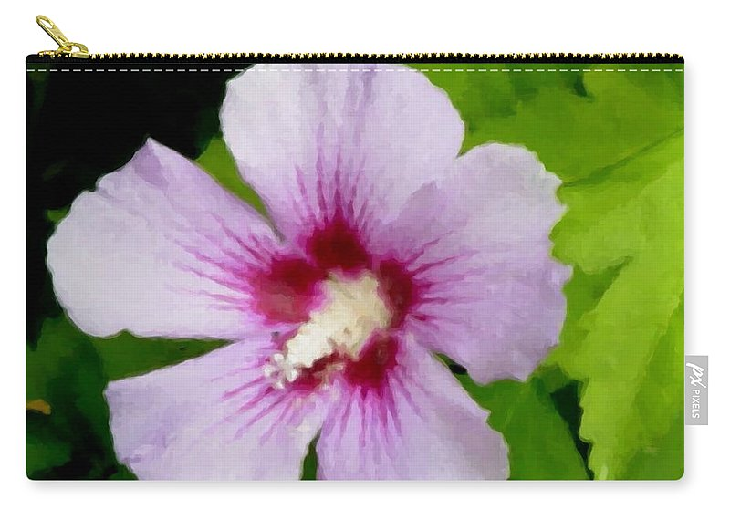 Flower Carry-all Pouch featuring the digital art Rose Of Sharon Close Up by Anita Burgermeister