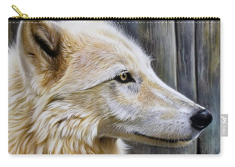 Wolves Carry-all Pouch featuring the painting Rose by Sandi Baker