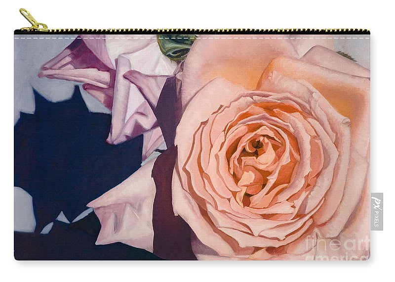 Roses Carry-all Pouch featuring the painting Rose Splendour by Kerryn Madsen-Pietsch