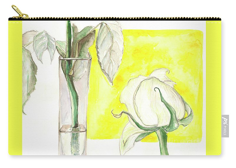 Flower Carry-all Pouch featuring the painting Rose by Yana Sadykova
