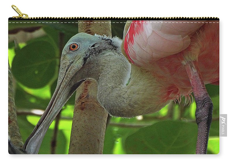 Spoonbill Carry-all Pouch featuring the photograph Roseate Spoonbill by Deborah Ferrence