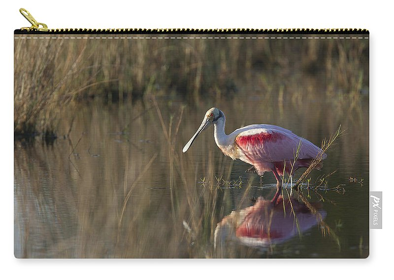 Roseate Carry-all Pouch featuring the photograph Roseate Spoonbill In Morning Light by David Watkins
