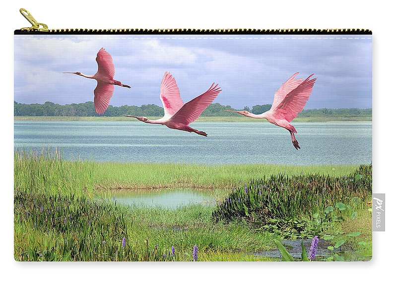 Birds Carry-all Pouch featuring the digital art Roseate Spoonbills Of Florida Bay by M Spadecaller
