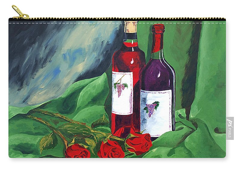 Wine And Roses Red Roses Red Wine Still Life Carry-all Pouch featuring the painting Roses And Wine by Herschel Fall