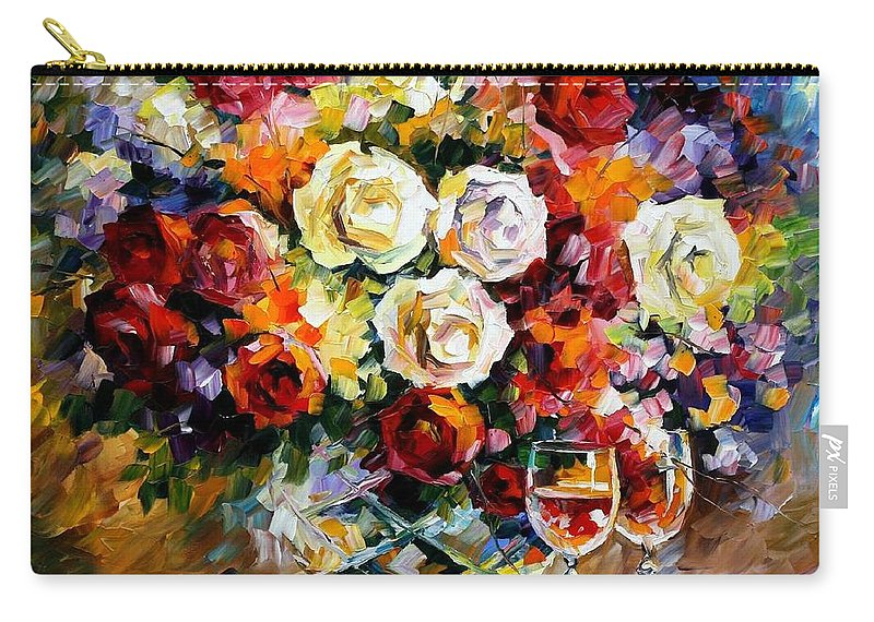 Still Life Carry-all Pouch featuring the painting Roses And Wine by Leonid Afremov