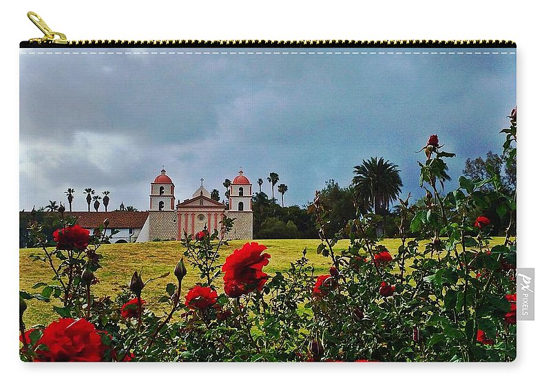 Santa Barbara Mission Carry-all Pouch featuring the photograph Roses Are Red by JoJo Brown
