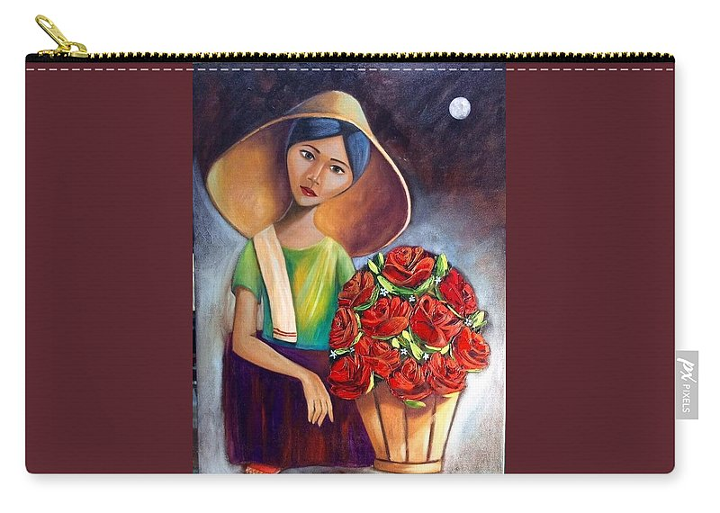Carry-all Pouch featuring the painting Roses Are Ref by Khristina Manansala