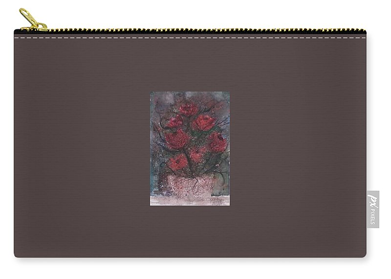 Watercolor Carry-all Pouch featuring the painting ROSES AT NIGHT gothic surreal modern painting poster print by Derek Mccrea