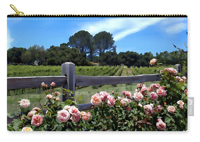 Flowers Carry-all Pouch featuring the photograph Roses At Rusack Vineyards by Kurt Van Wagner
