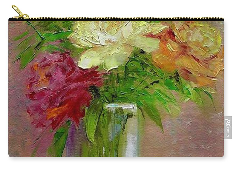 Original Carry-all Pouch featuring the painting Roses by Marina Wirtz