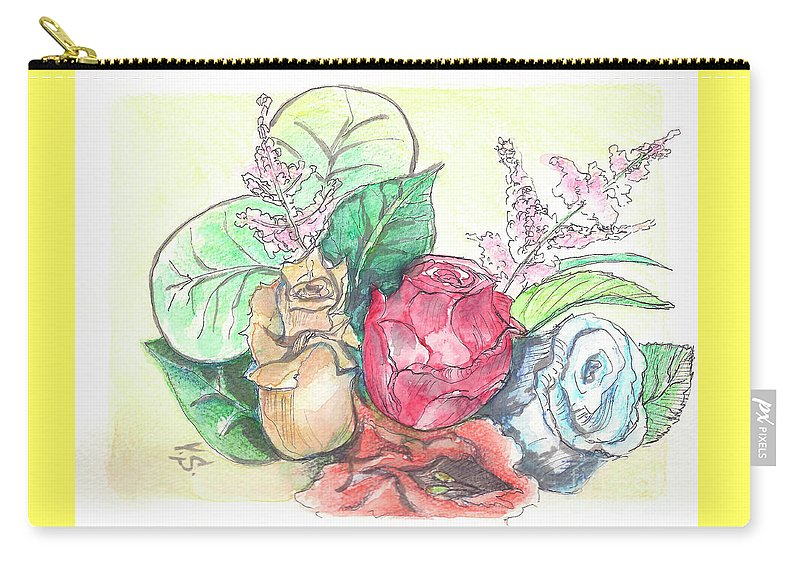 Roses Carry-all Pouch featuring the painting Roses On A Birthday by Yana Sadykova