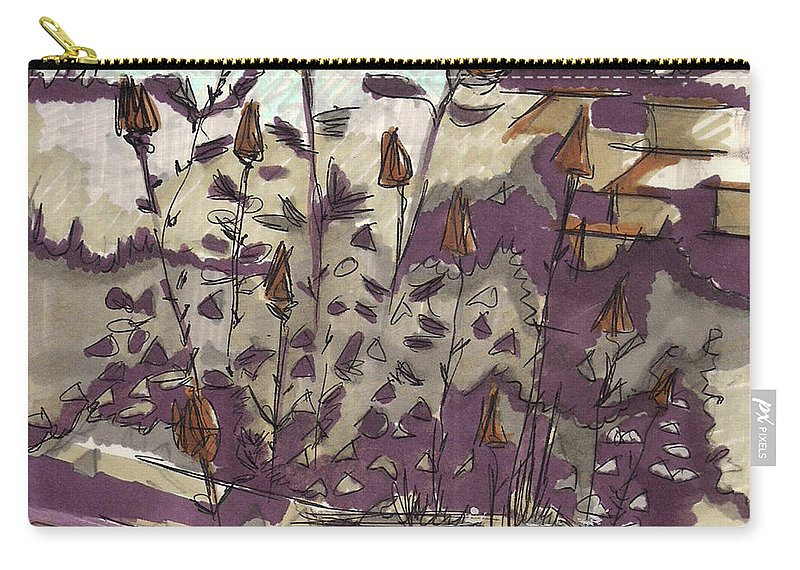 Carry-all Pouch featuring the painting Roses On Hill by Popa Andreea
