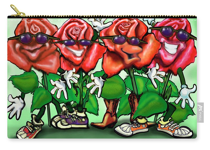 Rose Carry-all Pouch featuring the painting Roses Party by Kevin Middleton