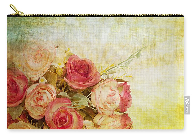 Abstract Carry-all Pouch featuring the painting Roses Pattern Retro Design by Setsiri Silapasuwanchai