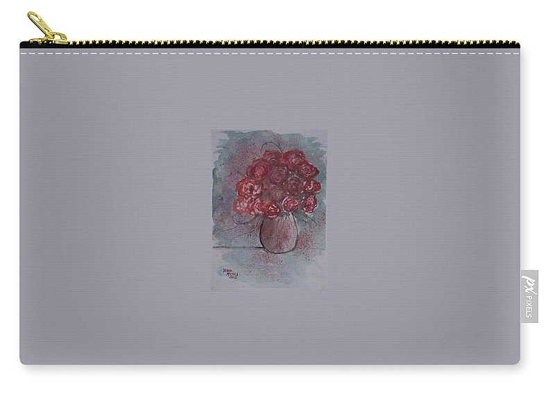 Watercolor Carry-all Pouch featuring the painting Roses Still Life Watercolor Floral Painting Poster Print by Derek Mccrea