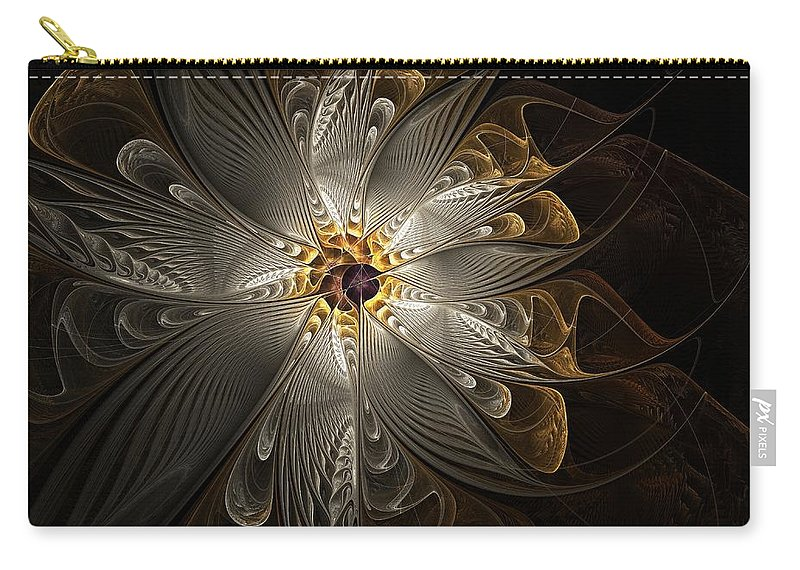 Digital Art Carry-all Pouch featuring the digital art Rosette In Gold And Silver by Amanda Moore