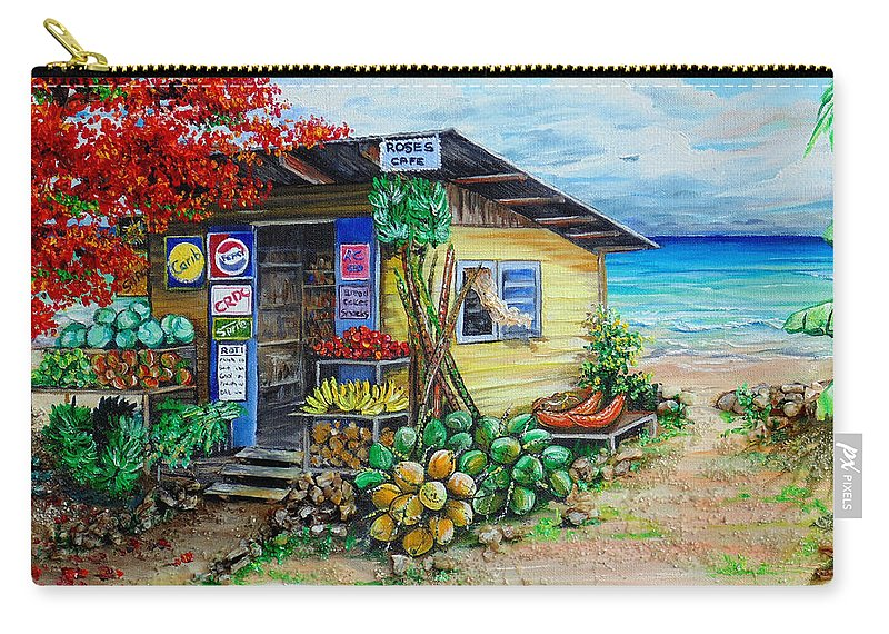 Beach Cafe Carry-all Pouch featuring the painting Rosies Beach Cafe by Karin Dawn Kelshall- Best